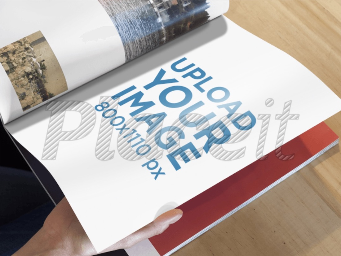 magazine mockup featuring a man flipping through pages