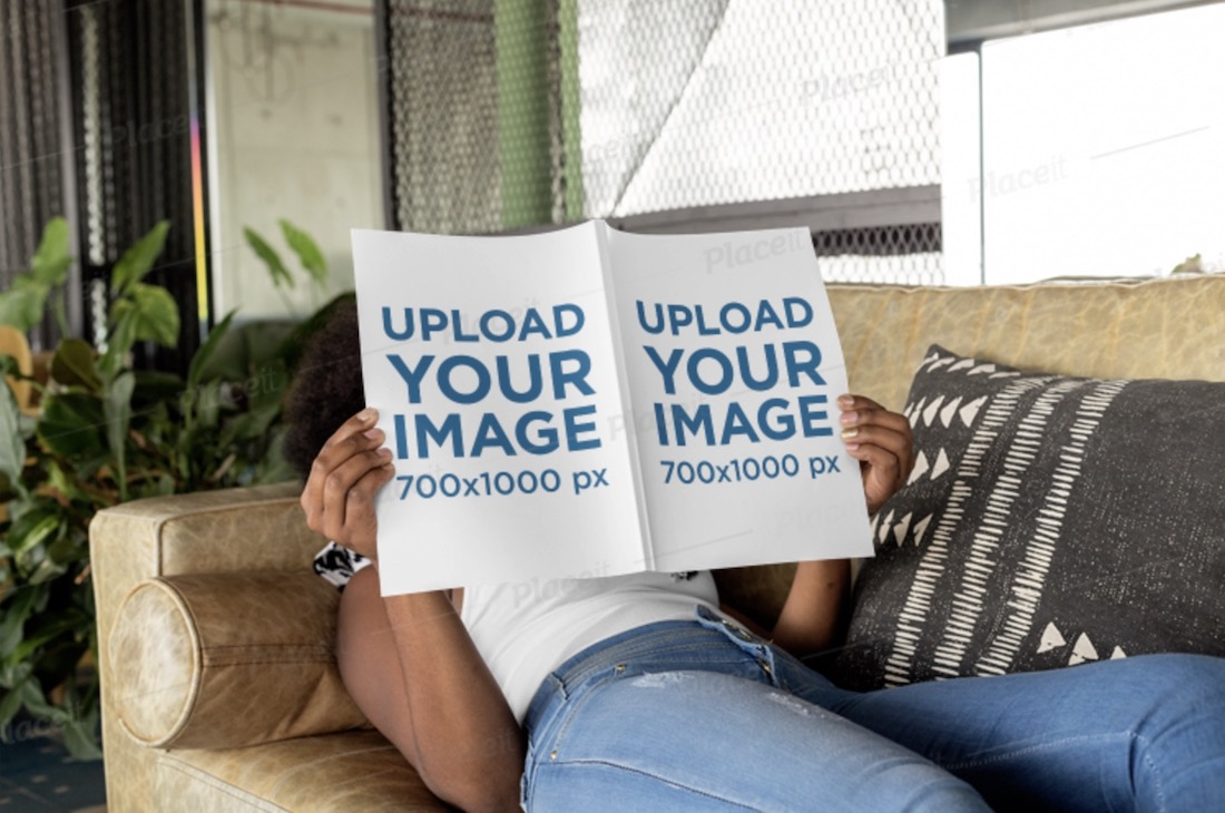 magazine mockup featuring a woman lying on a couch