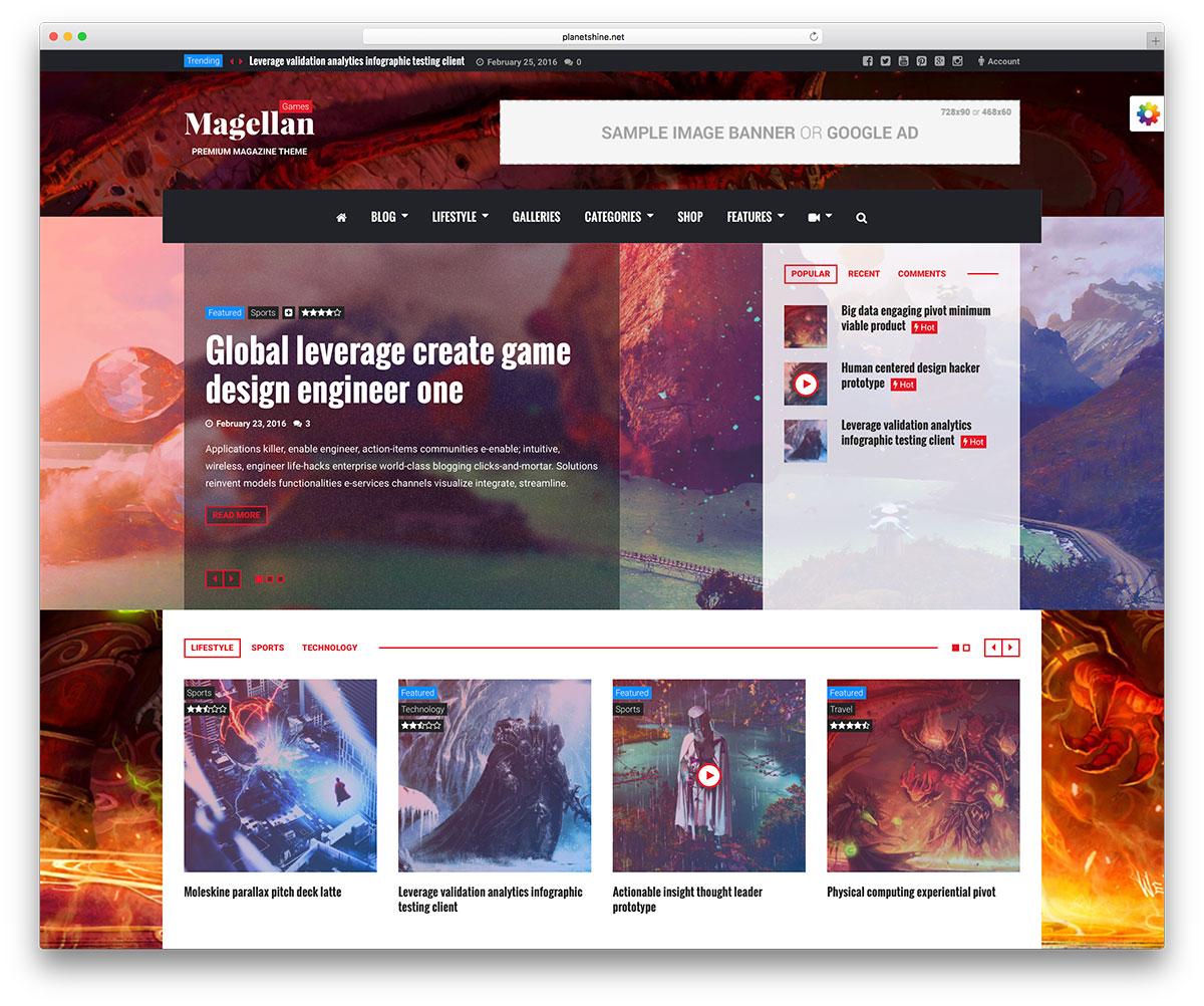 magellan-gaming-magazine-style-theme