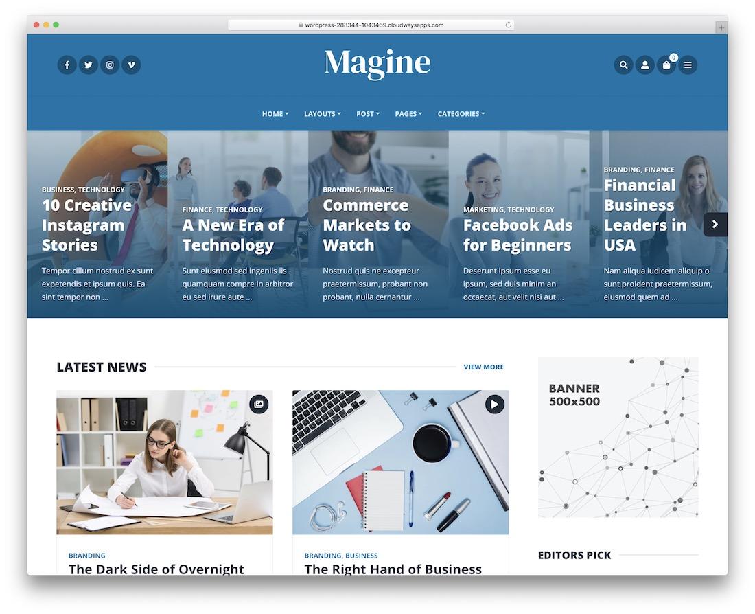 magine bootstrap wordpress theme