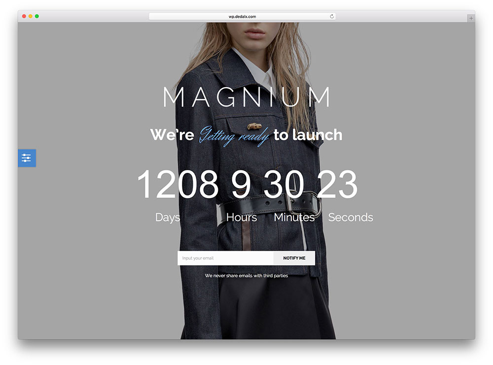 magnium - coming soon wordpress theme