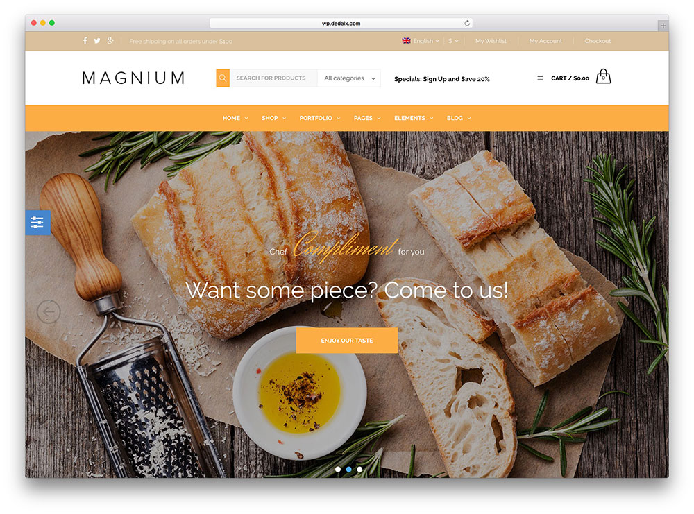magnium - restaurant wordpress theme