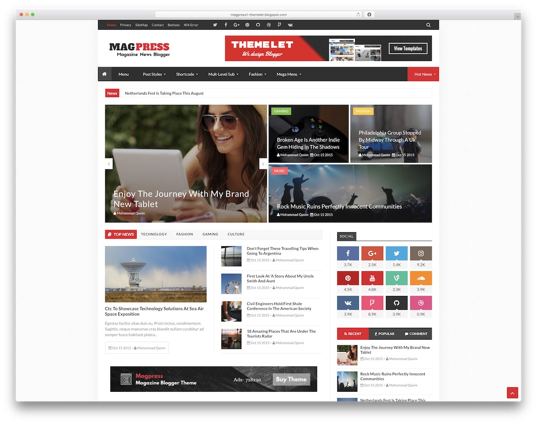 magpress free blogger template