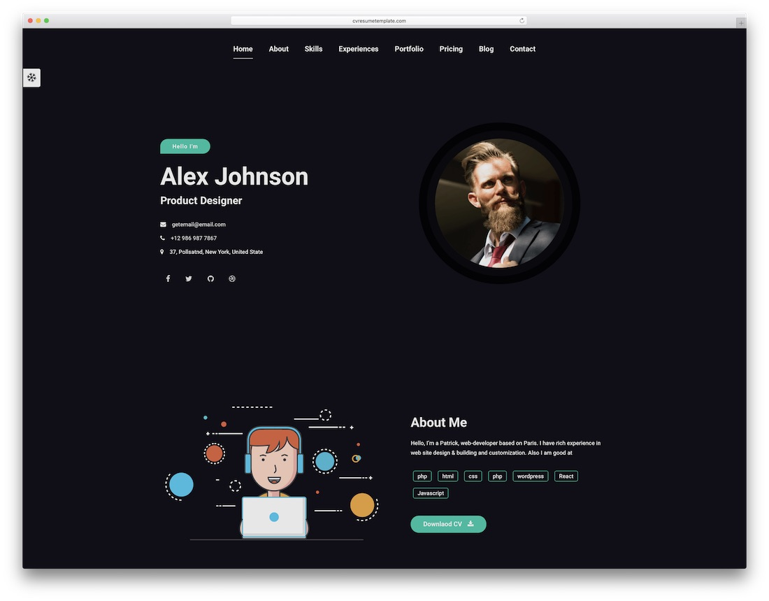 maha resume website template