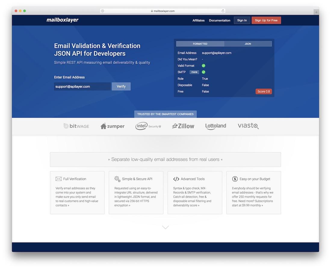 mailboxlayer api email platform for developers