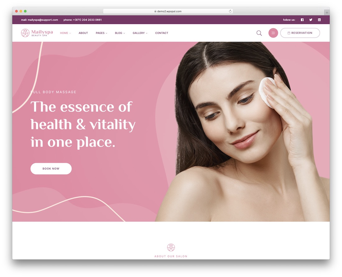 mailyspa makeup artist wordpress theme
