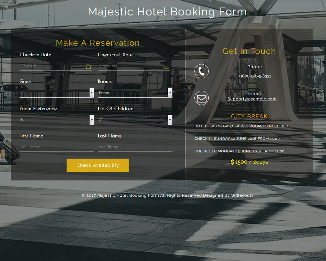 majestic-hotel-booking-form