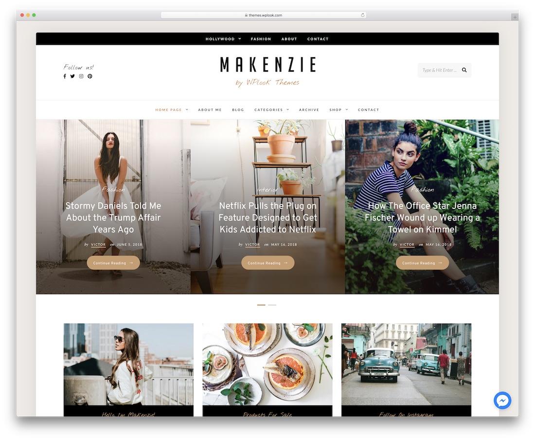 makenzie popular wordpress blog theme