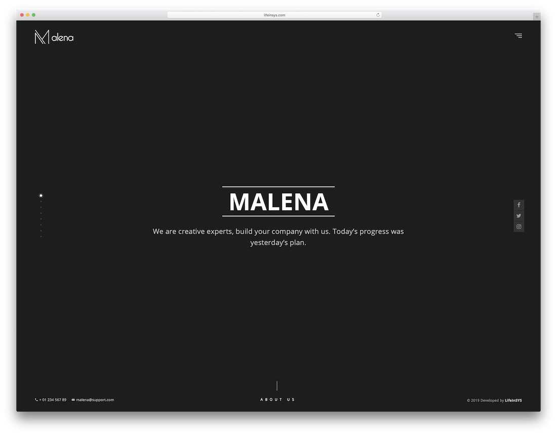 malena portfolio website template