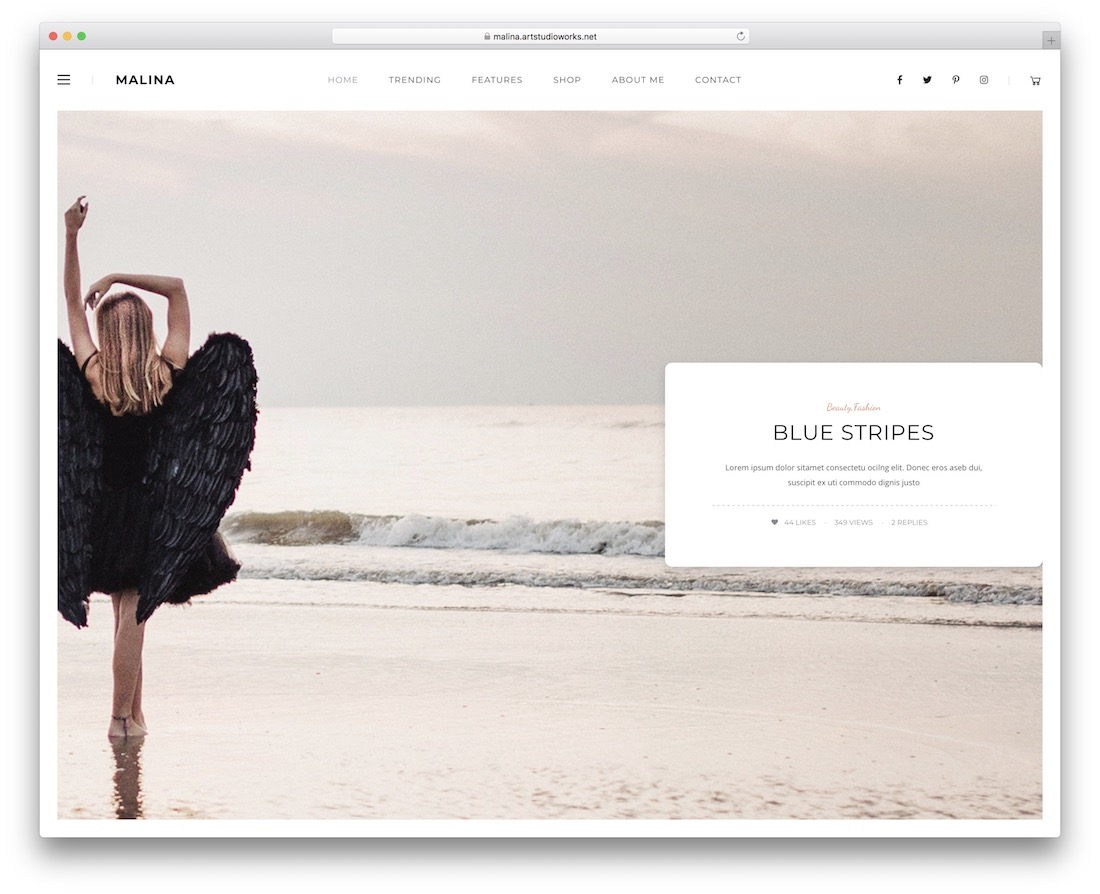 malina feminine wordpress theme