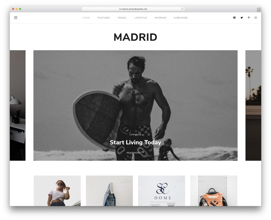 malina personal blog wordpress theme