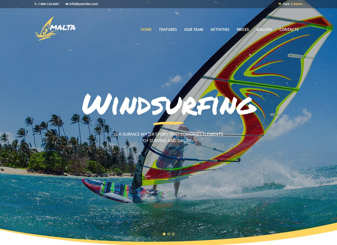 Malta - Windsurfing, Kitesurfing & Wakesurfing Center WordPress Theme
