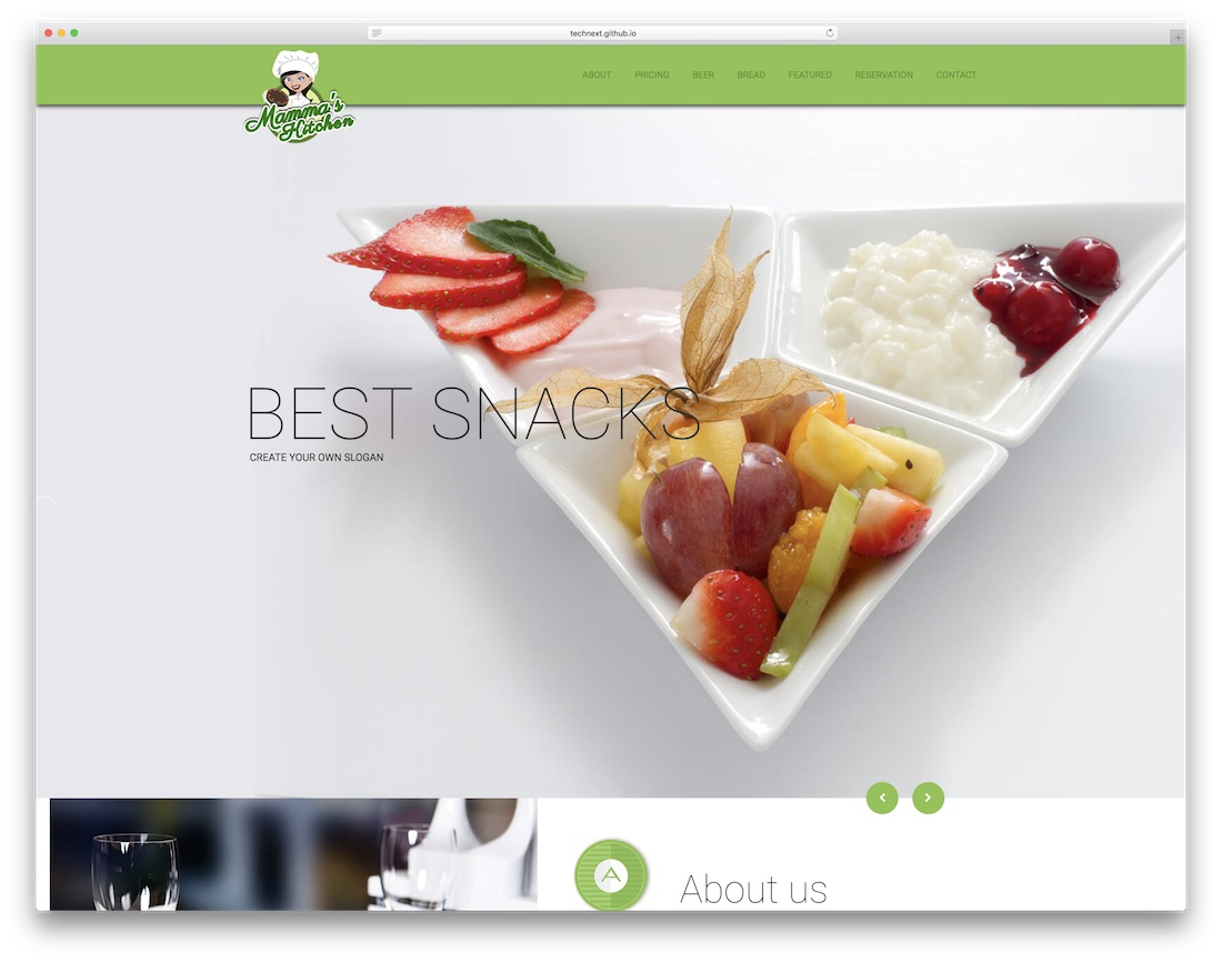 mammas kitchen free restaurant website template