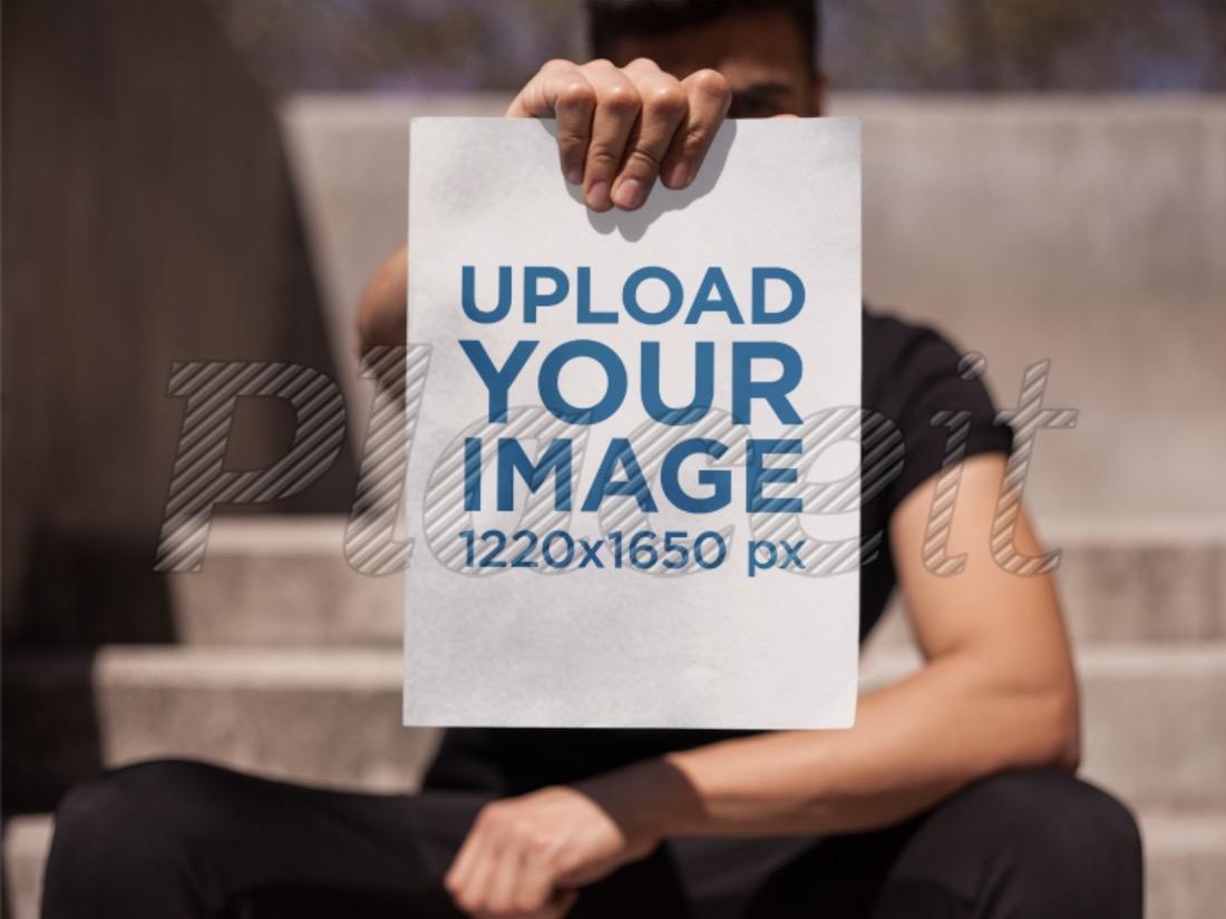 man holding a magazine mockup