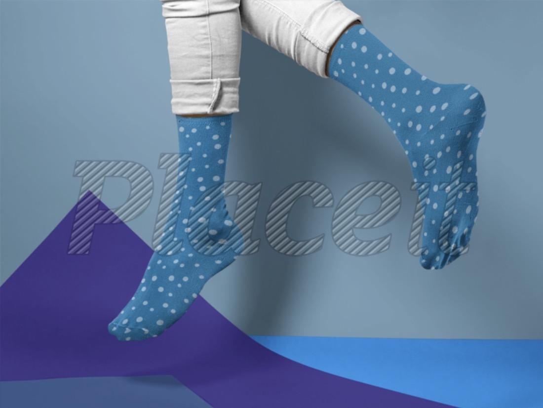 man jumping while wearing socks mockup