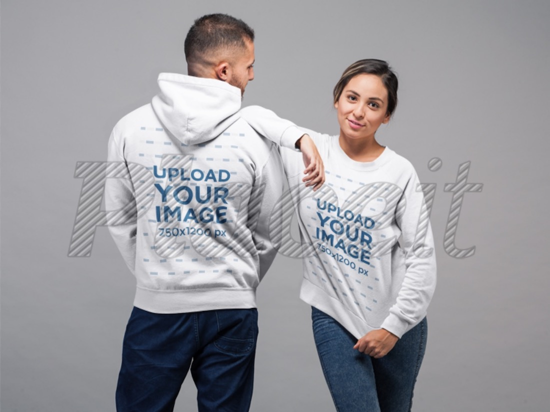 man wearing a pullover hoodie and a woman wearing a sweatshirt mockup