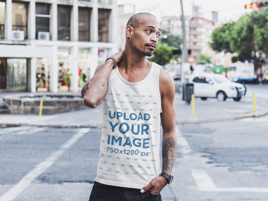 man wearing a tank top on the street mockup