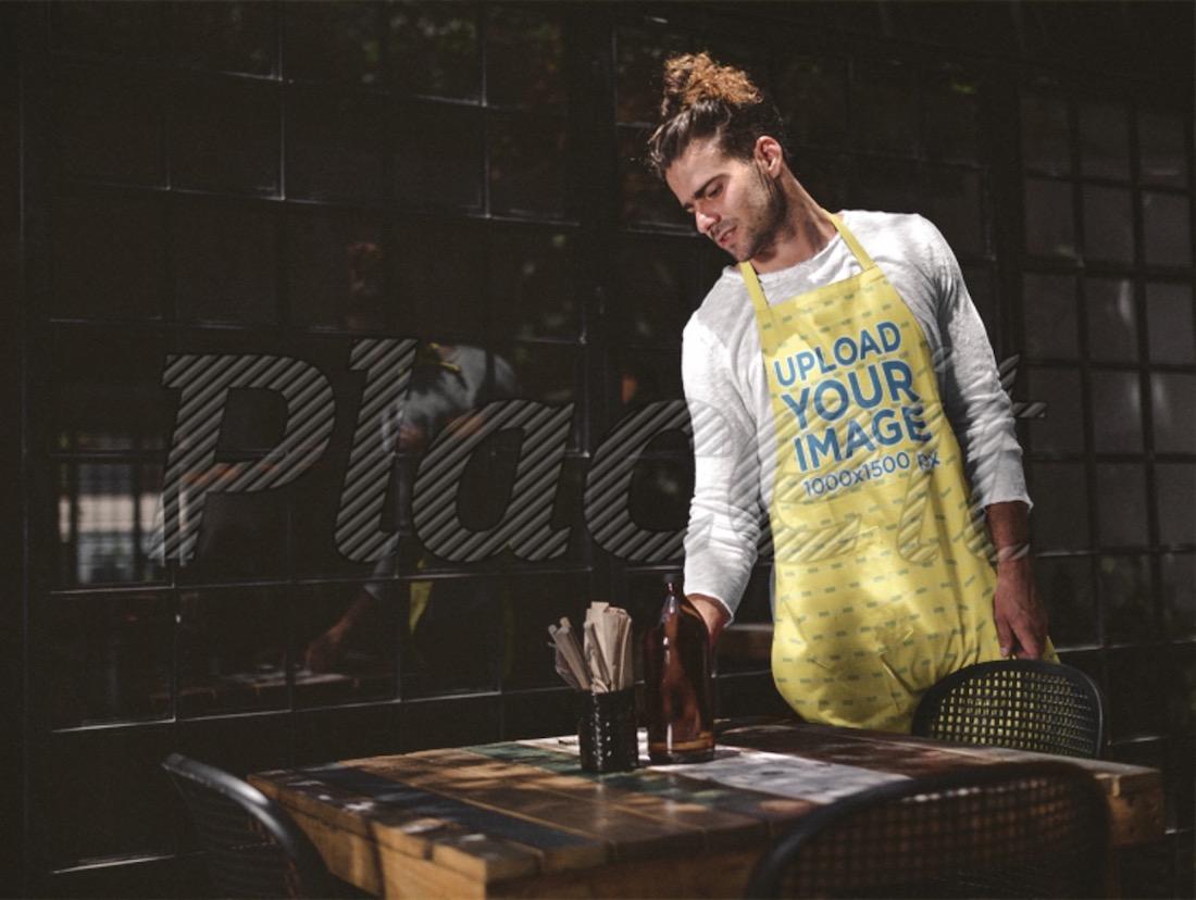 man wearing an apron mockup