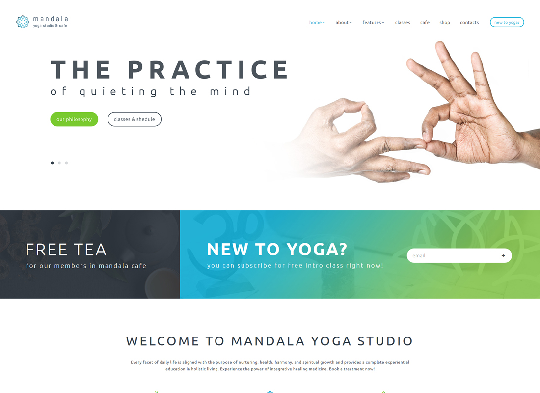 Mandala - Yoga Studio and Wellness Center WordPress Theme