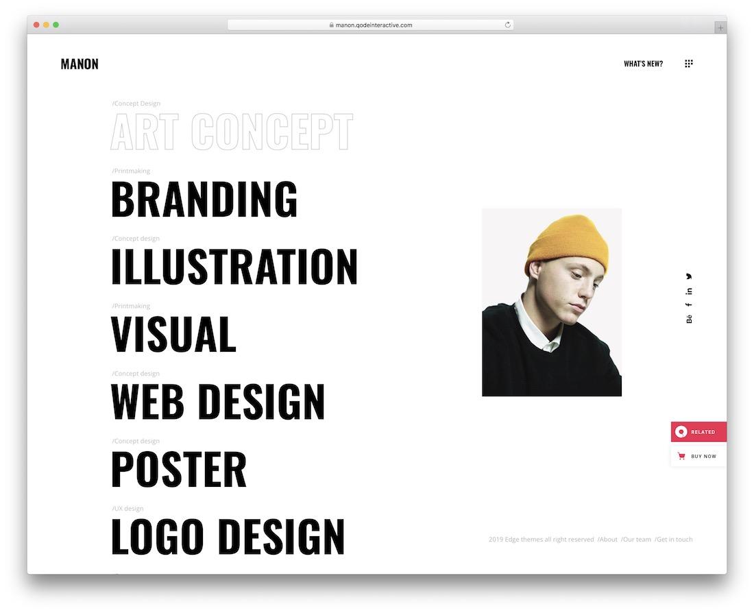 manon simple website template