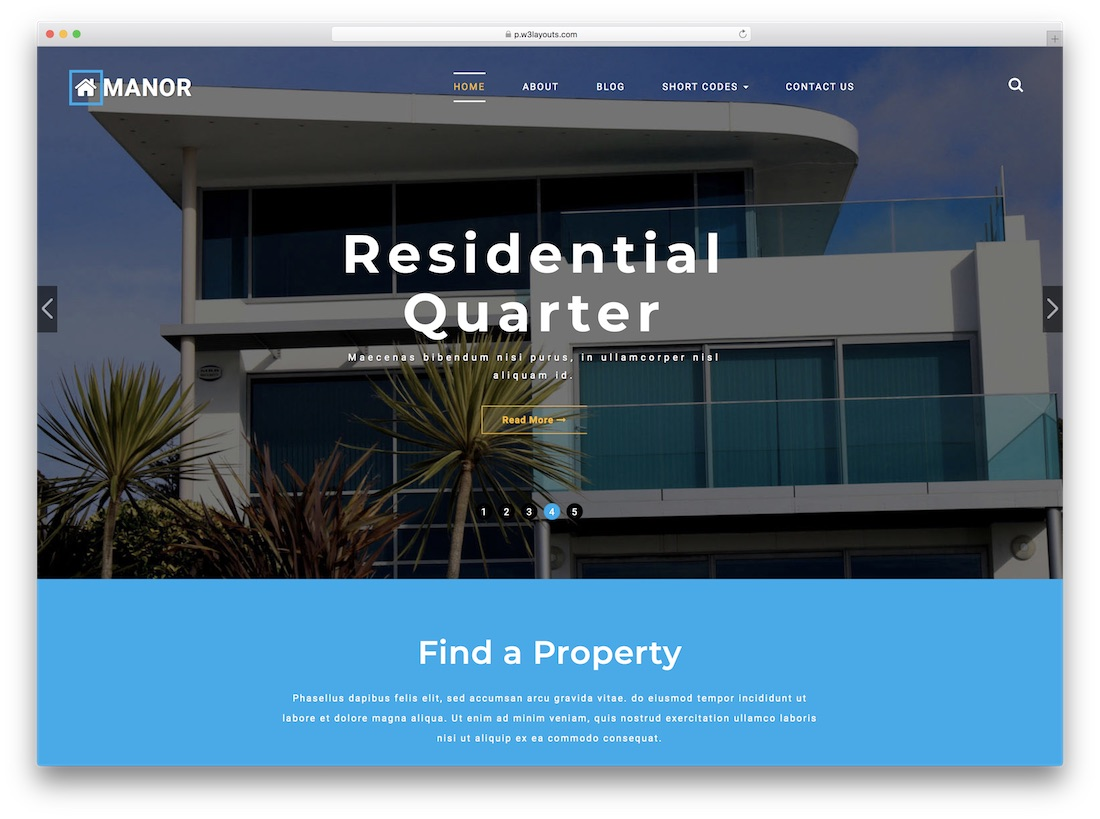 manor free real estate directory website template