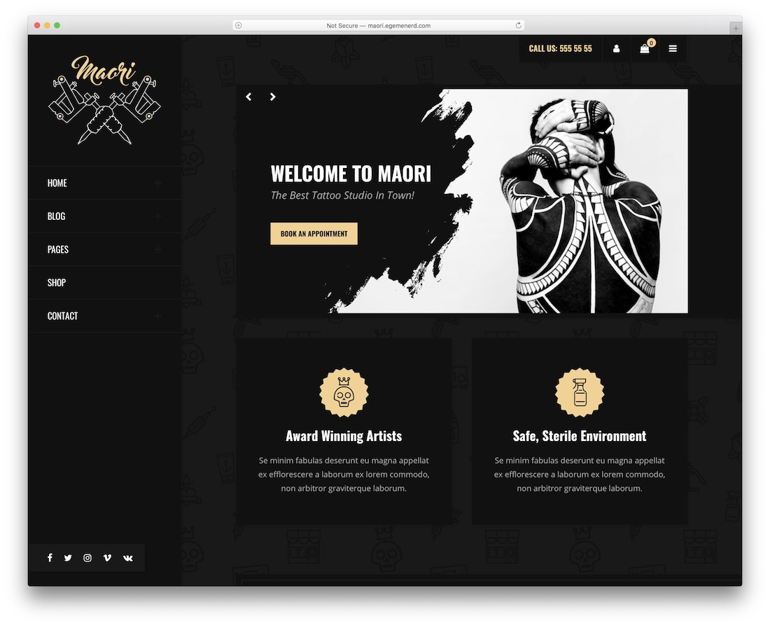 maori tattoo salon wordpress theme