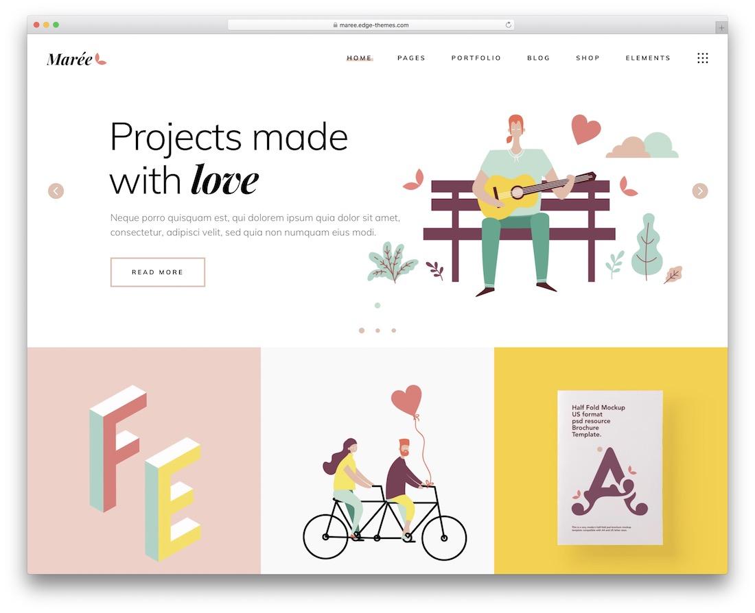 maree portfolio website template