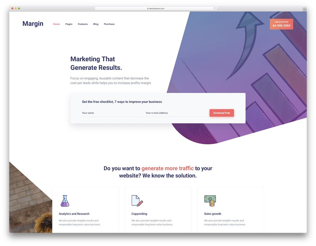 margin marketing website template