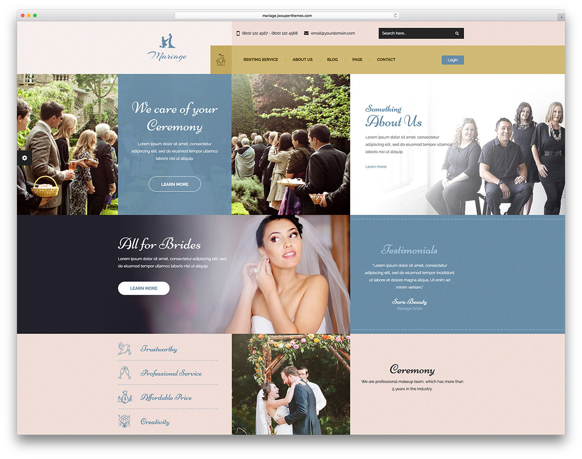 20 Best WordPress Wedding Events Marriage Themes 2018 Colorlib