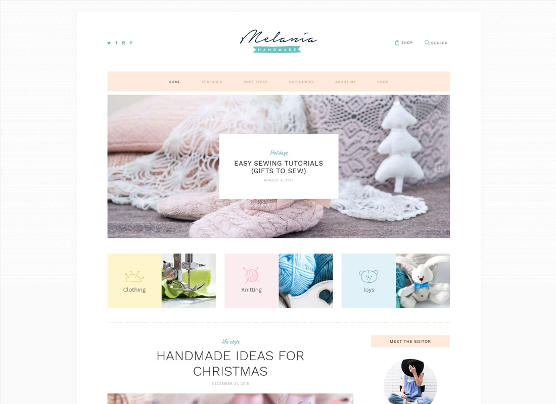 Melania | Handmade Blog & Crafts Shop Aristic WordPress Theme