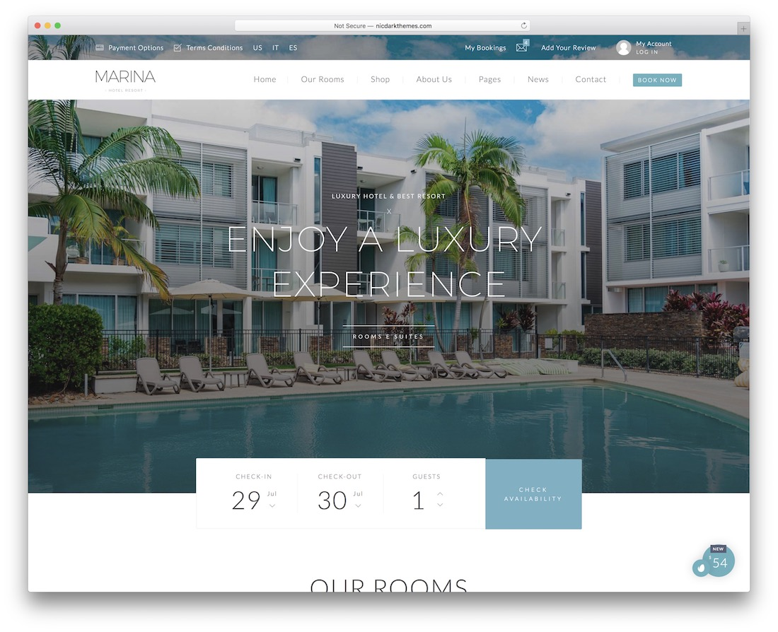 marina hotel website template