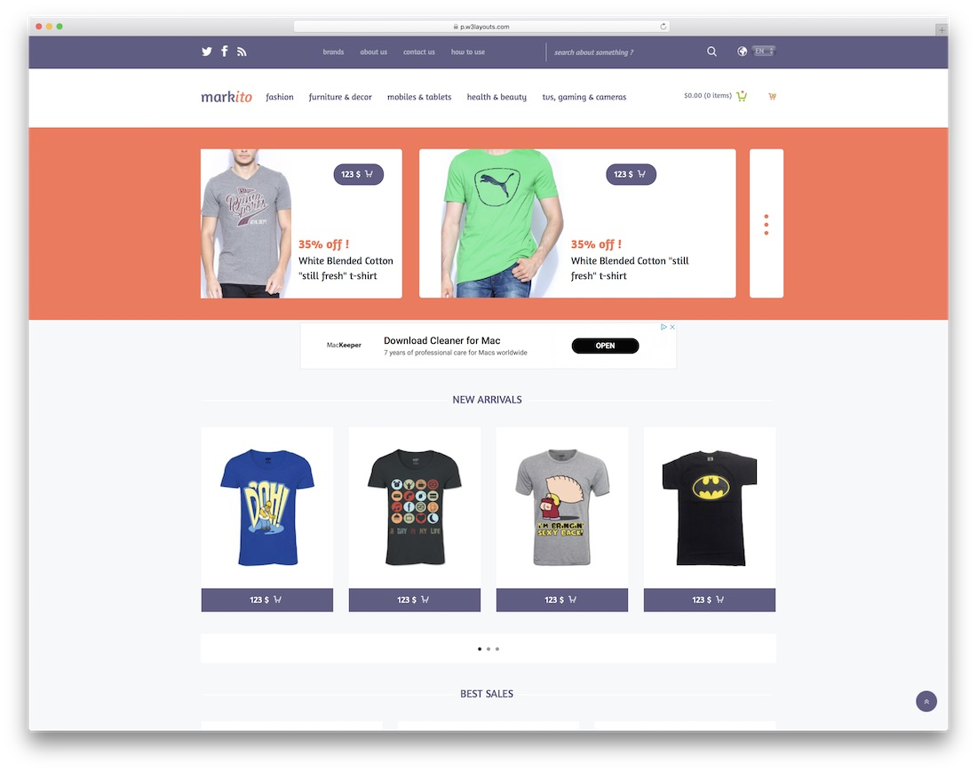 markito free bootstrap ecommerce website template
