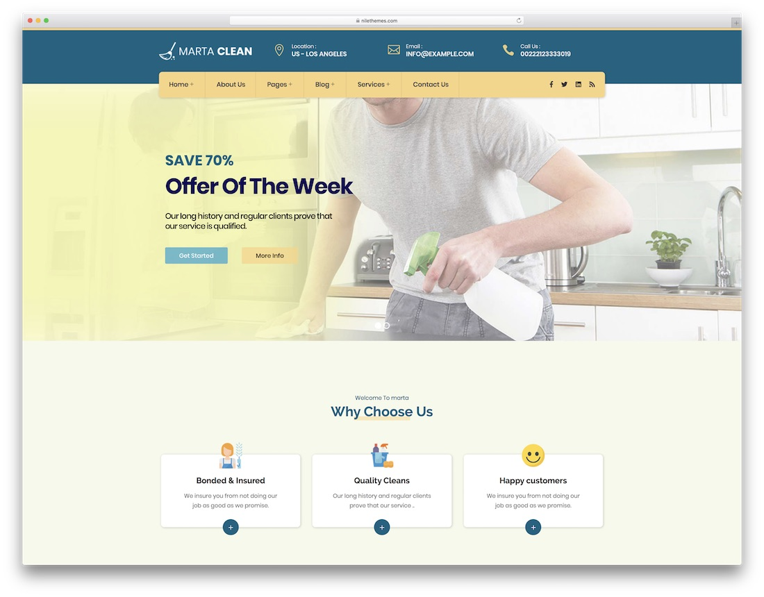 marta cleaning company theme