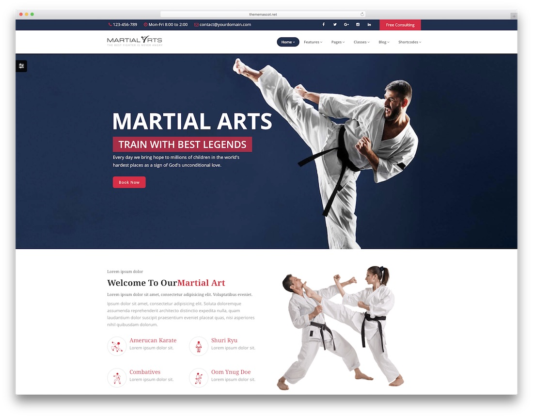 martial arts school website template