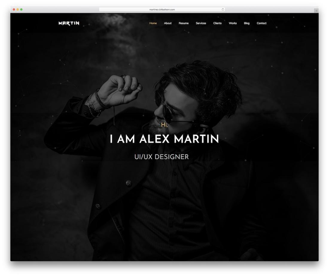 martin personal website template