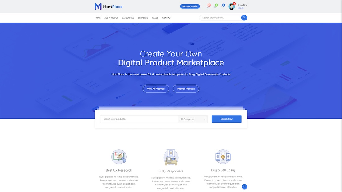 martplace ecommerce website template