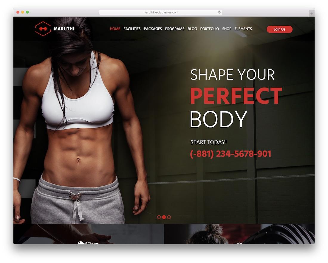 maruthi wordpress fitness theme