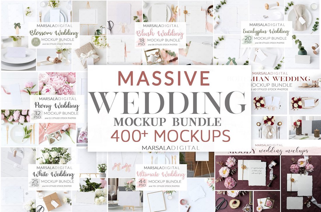 massive wedding mockup bundle