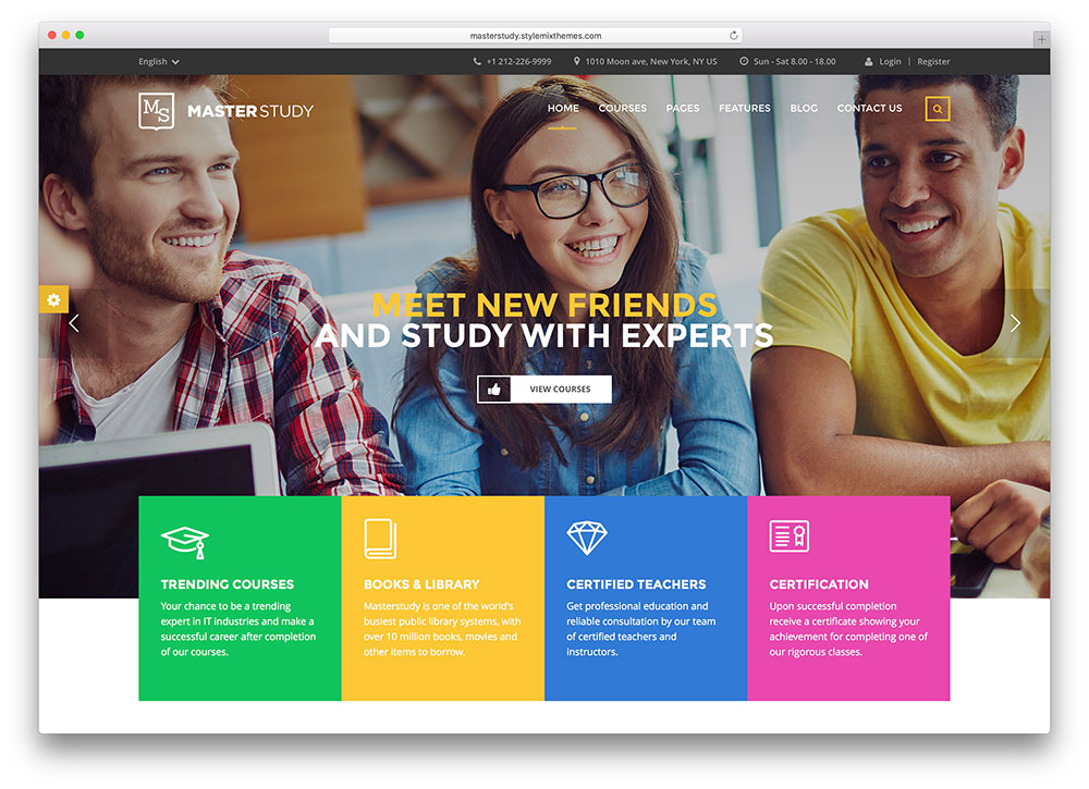 lms responsive learning management system wordpress theme free download
