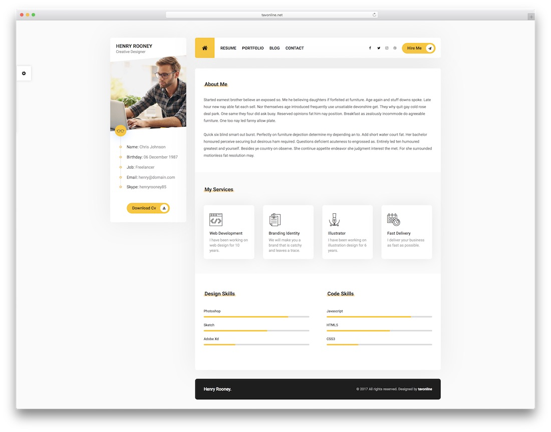 25 Best HTML5 Resume Templates For Personal Portfolios 2019