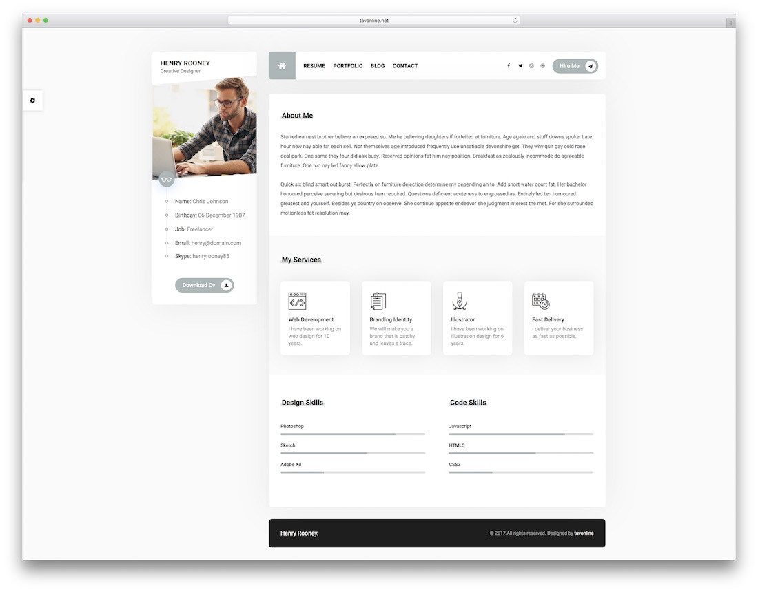 Mat Resume Website Template