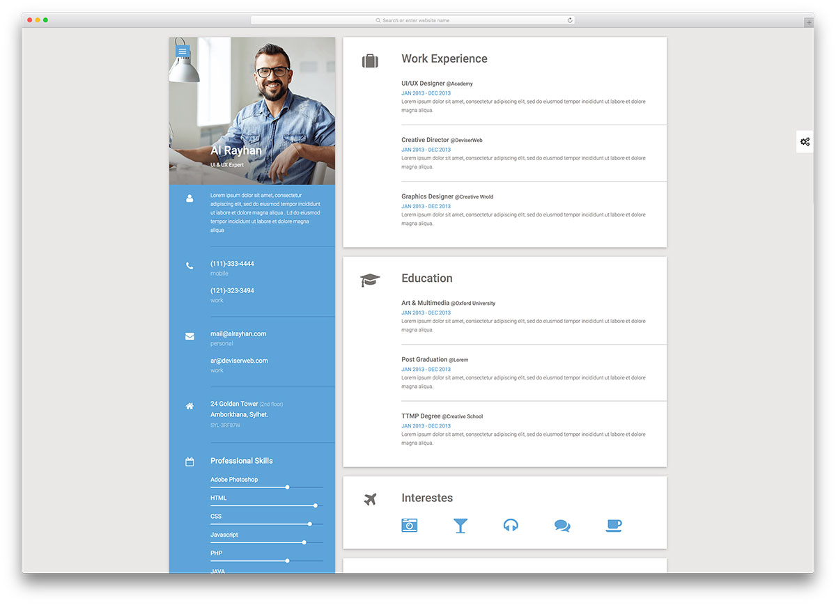 material cv resume website template - Personal Website Resume Examples