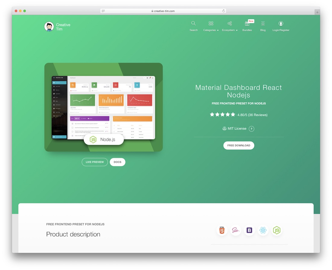 material dashboard react nodejs free react template
