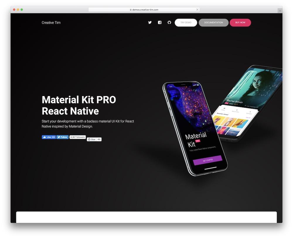 material kit react native template