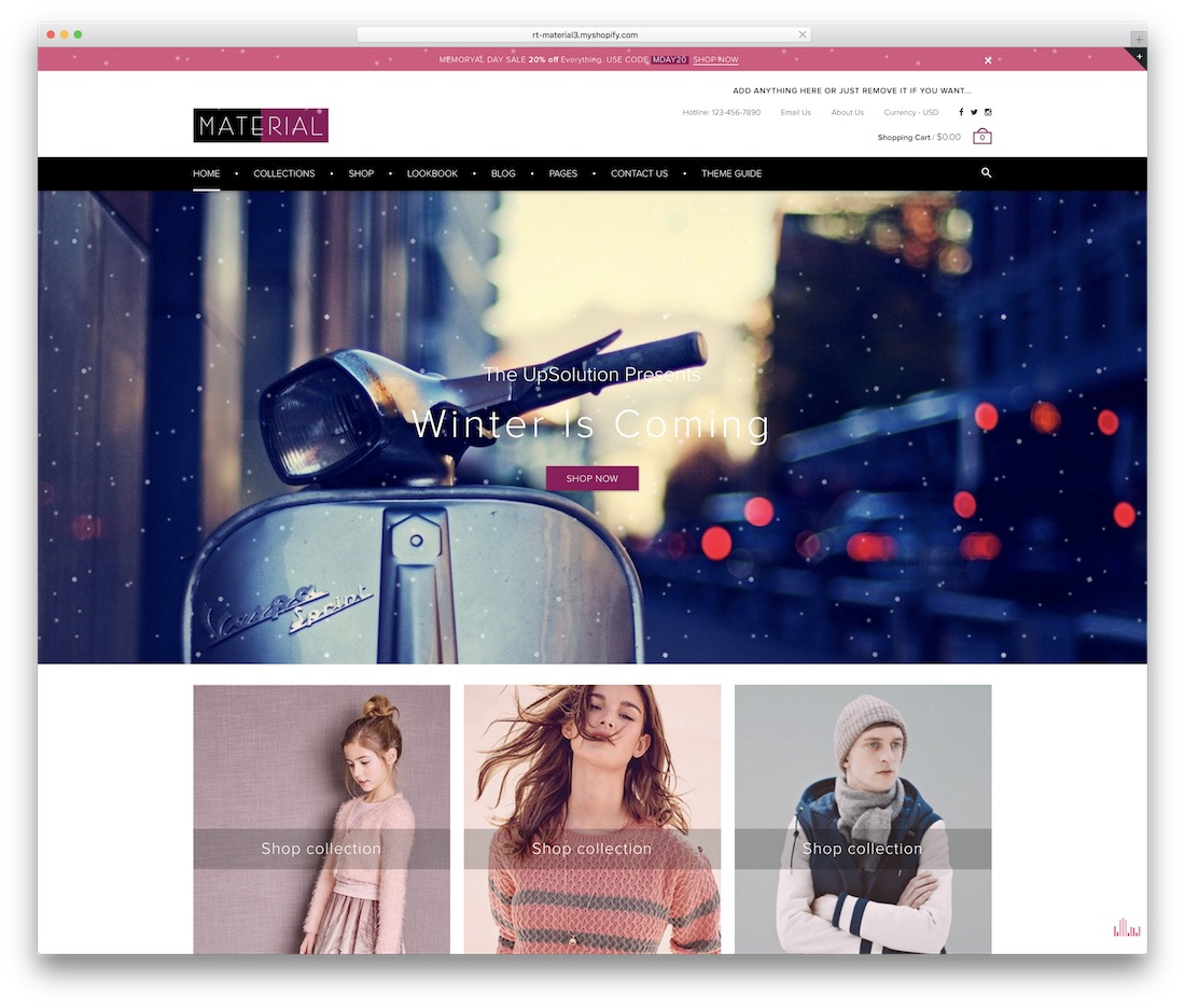 material shopify technology theme