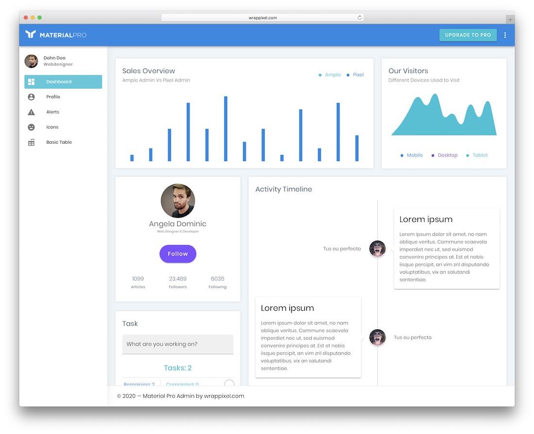 materialpro free vuejs admin template