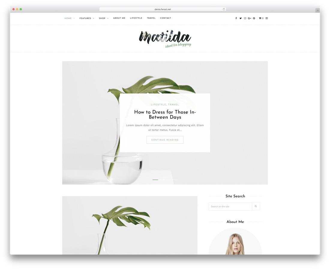 matilda minimal personal blog wordpress theme