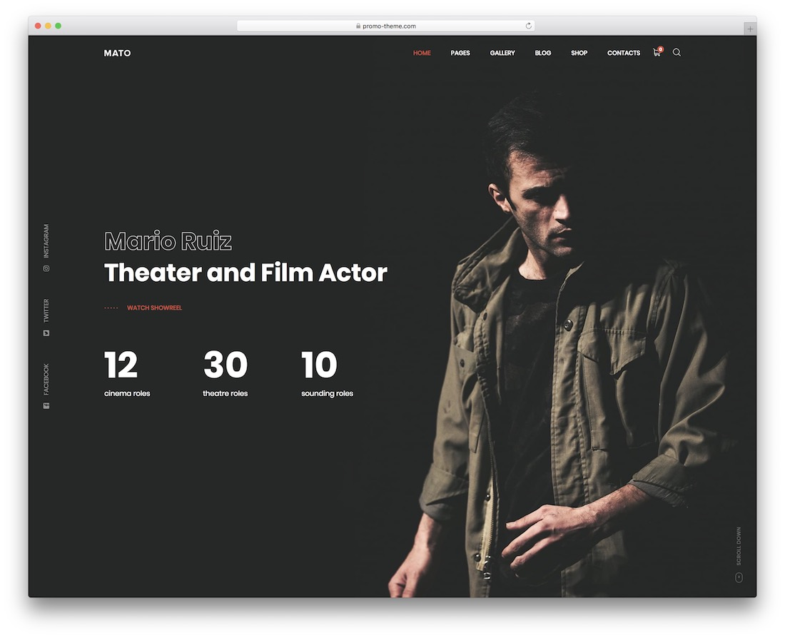 mato actor website template
