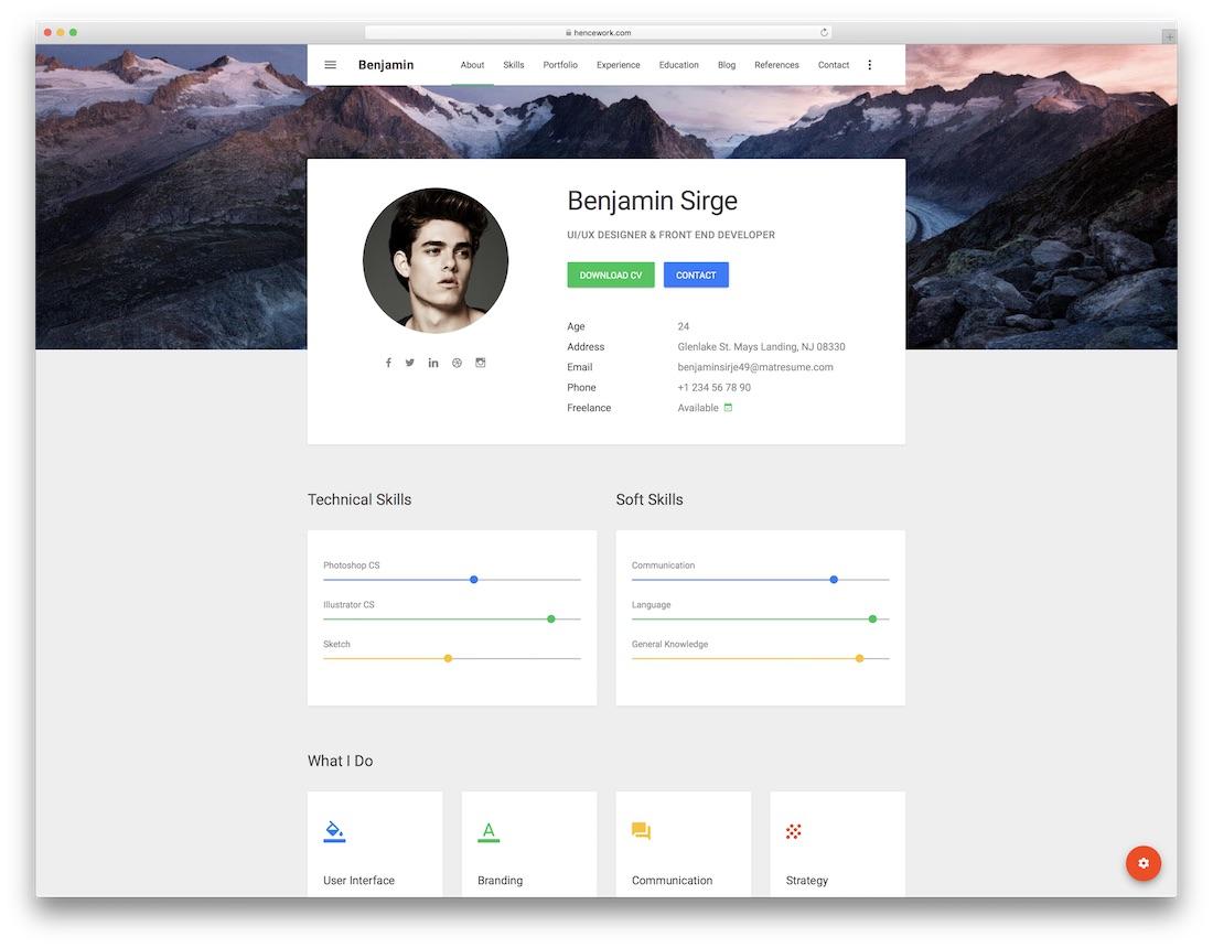 matresume resume website template