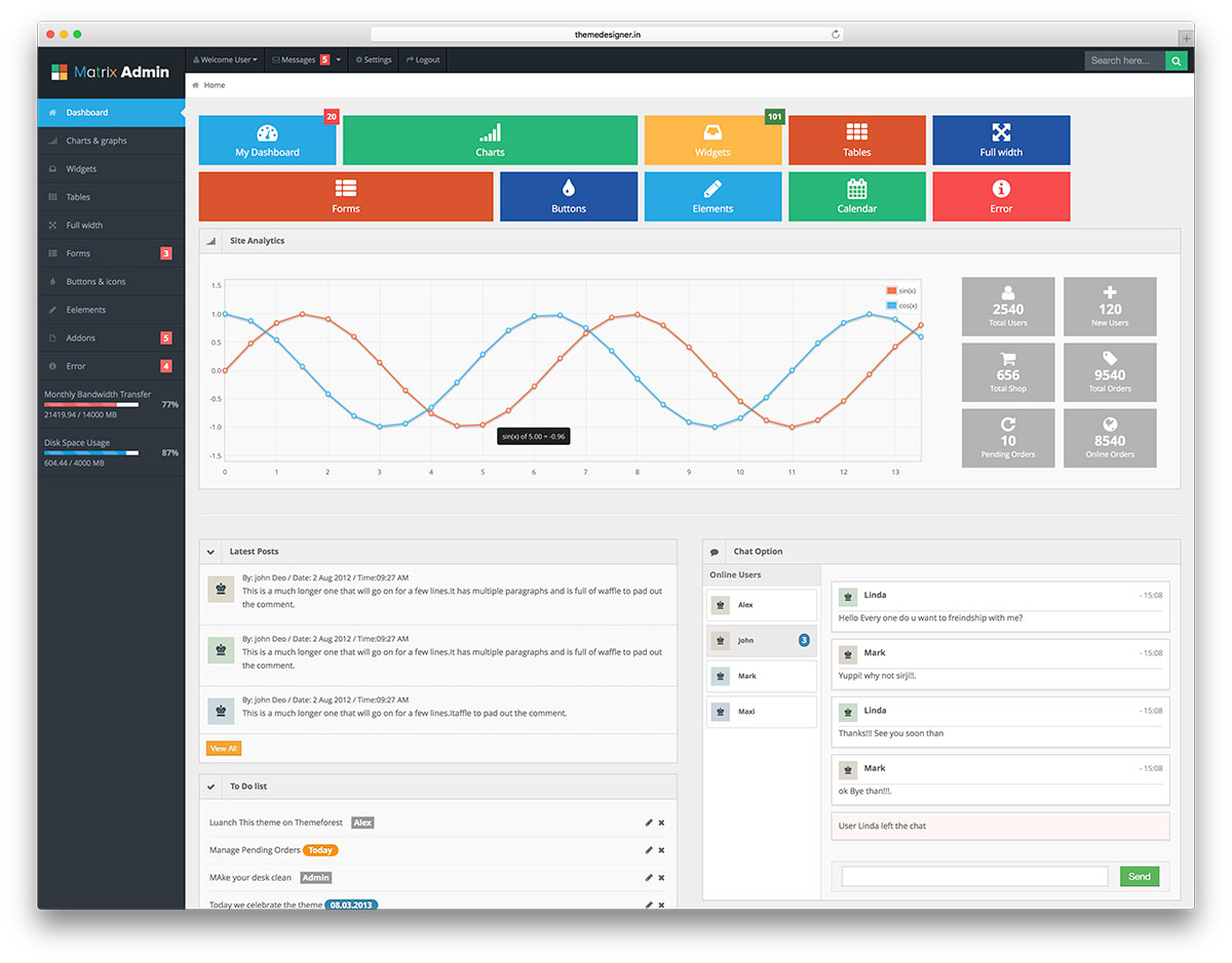 Matrix Admin Free Bootstrap Dashboard Template